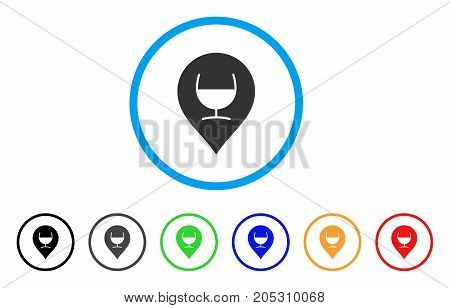 Wine Glass Marker rounded icon. Style is a flat wine glass marker gray symbol inside light blue circle with black, gray, green, blue, red, orange variants.