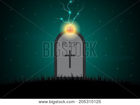 Halloween Gravestone Graveyard Thunderbolt Background