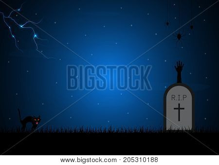 Halloween festival and celebration abstract background gravestone or tombstone or headstone with graveyard zombie hand spider web thunderbolt or lightning cat and copy space vector illustration.