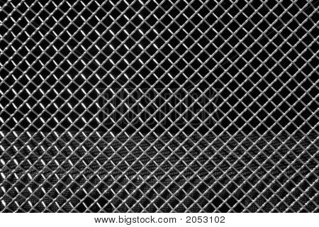 Abstract steel grid from car radiator. Black background poster