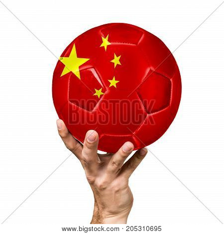 soccer ball with the image of the flag of China, ball isolated on white background.