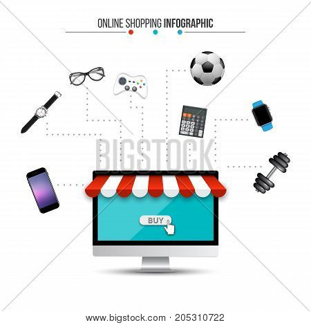 Vector concept online shopping and e-commerce. Can be used for workflow layout template, banner, diagram, number options, web design, infographics, timeline.