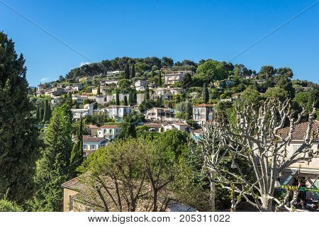 SAINT-PAUL-DE-VENCE FRANCE - APRIL 25 2016: View of Saint-Paul-de-Vence one of the oldest medieval towns on the French Riviera well known for its contemporary art museums and galleries France