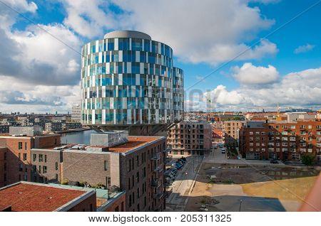 view over the Nordhavn District in Copenhagen Denmark