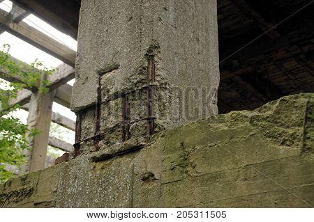 Debris rubble and damaged concrete construction. The Second World War ruins.
