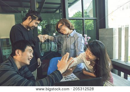 asian freelance team happiness emotion when working successful in home office