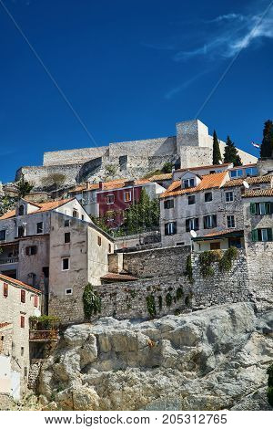 stone walls and walls of Venetian fortress in Sibenik Croatia
