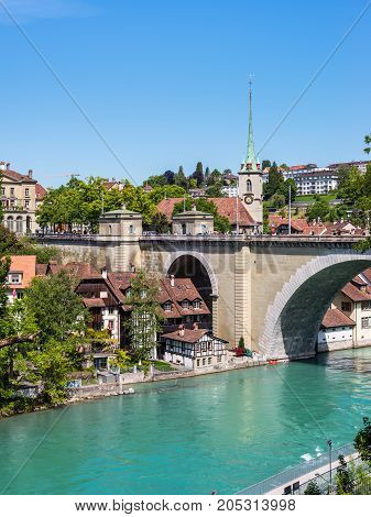 Bern Switzerland - May 26 2016: European old town coastal landscape with stone bridge in Bern (Unesco Heritage) the capital of Switzerland.