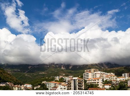 Becici Montenegro View of the city and mountains