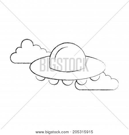 ufo flying clouds saucer technology science transport vector illustration
