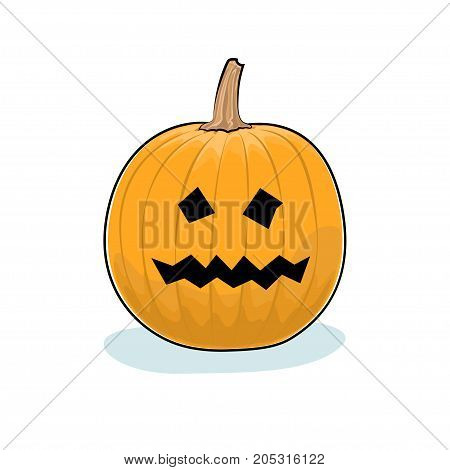 Carved Terrible Scary Halloween Pumpkin on White Background a Jack-o-Lantern