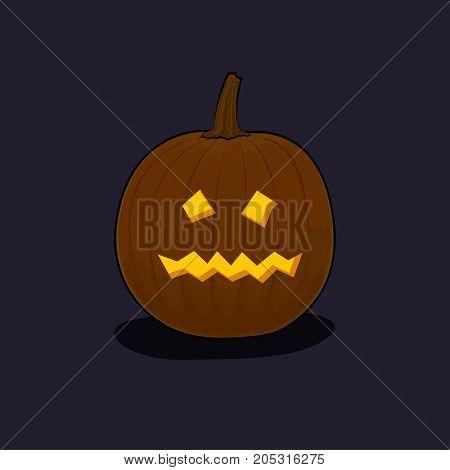Carved Terrible Scary Halloween Pumpkin on Dark Background a Jack-o-Lantern