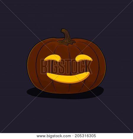Carved Smiling Scary Halloween Pumpkin a Jack-o-Lantern on Dark Background