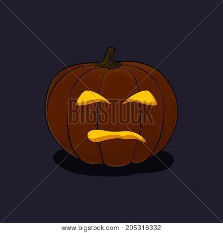 Carved Evil Scary Halloween Pumpkin a Jack-o-Lantern on Dark Background