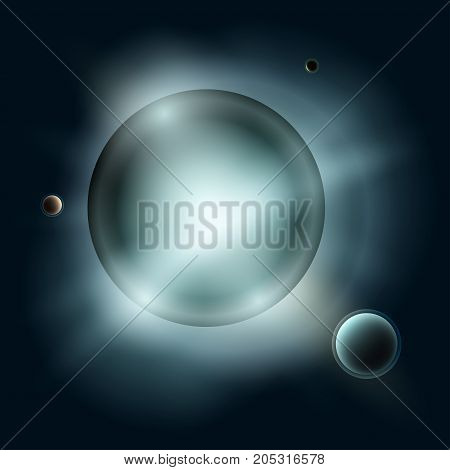 Star with Satellites Sun with Planets in Space Blue Light of Stars in Universe Abstract Background