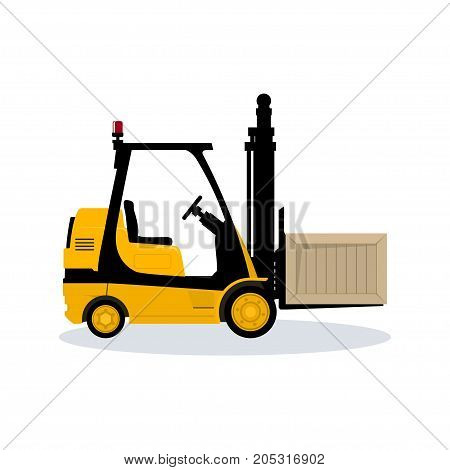 Forklift Truck Isolated on White Background Vehicle Forklift Picks up a Box Illustration