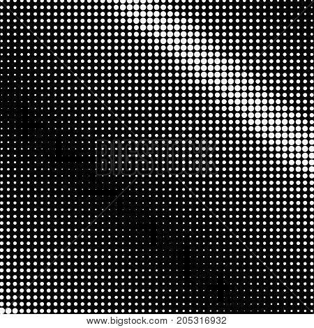 Pop Art Halftone Background White Dots on Black Background Retro Style Illustration