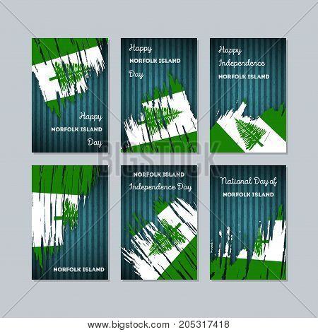 Norfolk Island Patriotic Cards For National Day. Expressive Brush Stroke In National Flag Colors On