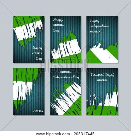 Nigeria Patriotic Cards For National Day. Expressive Brush Stroke In National Flag Colors On Dark St