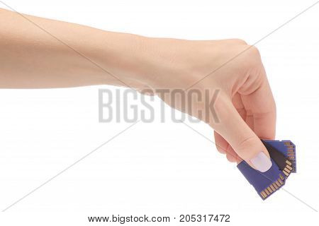 Female hands with flash drive sd card on white background isolation