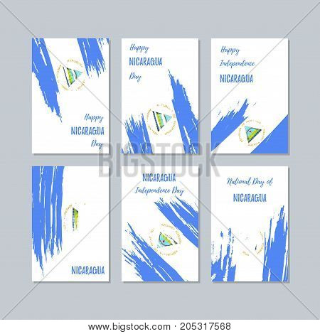 Nicaragua Patriotic Cards For National Day. Expressive Brush Stroke In National Flag Colors On White