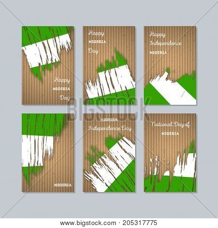 Nigeria Patriotic Cards For National Day. Expressive Brush Stroke In National Flag Colors On Kraft P