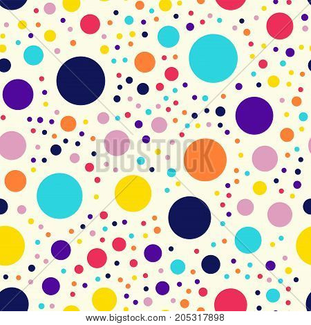Memphis Style Polka Dots Seamless Pattern On Milk Background. Mesmeric Modern Memphis Polka Dots Cre