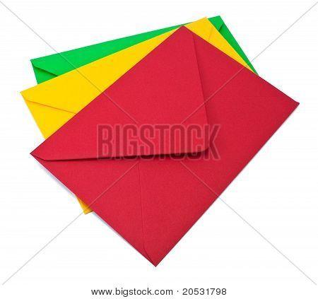 Three Envelopes On White