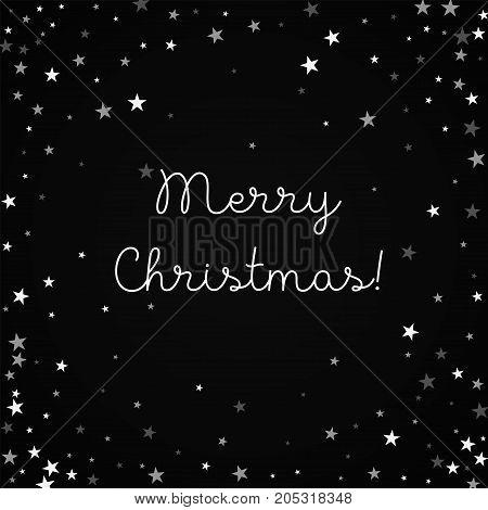 Merry Christmas Greeting Card. Random Falling Stars Background. Random Falling Stars On Red Backgrou