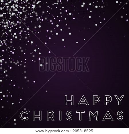 Happy Christmas Greeting Card. Amazing Falling Snow Background. Amazing Falling Snow On Deep Purple