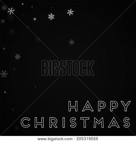 Happy Christmas Greeting Card. Sparse Snowfall Background. Sparse Snowfall On Black Background. Deli