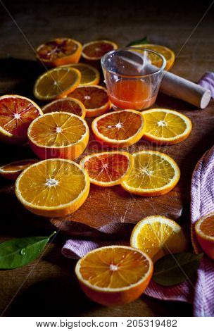 Citrus fruits  red oranges, freshly pressed juice