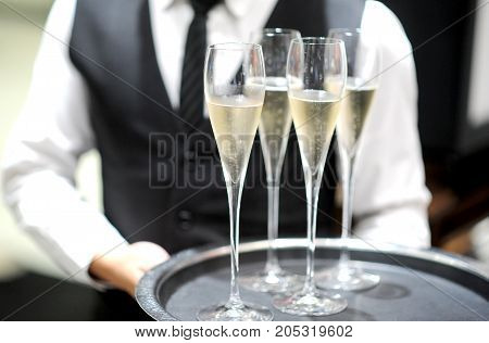 Professional serving champagne and wine for party