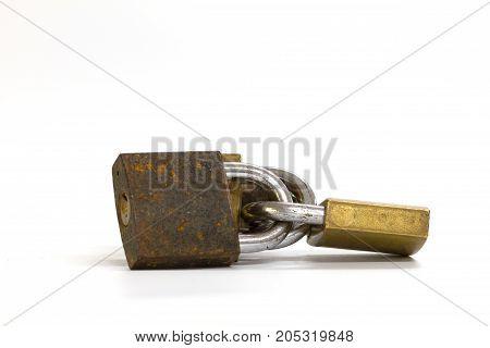 Locked Padlock Over White Background