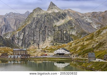 view of the Great St. Bernard Pass, highest road pass in Switzerland 2469 m. It Connects Martigny in the Canton of Valais in Switzerland with Aosta Valley Region of Italy