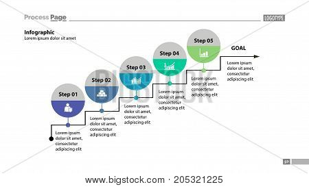 Five steps to goal process chart design. Element of chart, diagram, presentation. Concept for annual report, infographic, web design. Can be used for topics like business, success, strategy