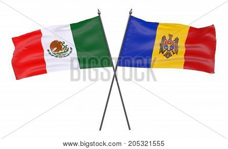Mexico and Moldova, two crossed flags isolated on white background. 3d image