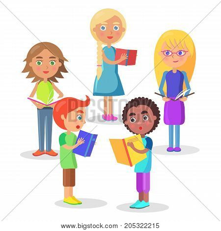 Group of schoolchildren consisting of girls and boys stand in circle and read schoolbooks vector illustration on white background.