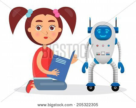 Girl with ponytails sits and reads book besides futuristic robot with electronic face, colorful buttons and antennas isolated vector illustration.
