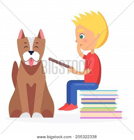 Blond boy sitting on heap of literature and holds closed textbook with staffordshire terrier on white background vector illustration.