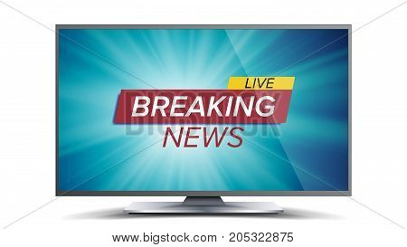 Breaking News Vector. Blue TV Screen. World Global News Concept. Isolated