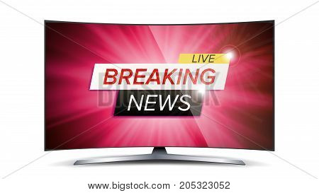 Breaking News Live Vector. Red TV Screen. Technology News Concept. Isolated