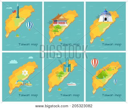 Concept of Taiwan map in Pacific Ocean. Vector illustration of Chiang Kai-shek Memorial Hall, Confucius Temple, lasting Taipei, Dragon Arched Bridge, Skyscraper Tanteks, Maokong Mountain Cableway.