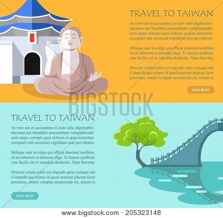Taiwanese traditional sightseeing elements poster. Vector colorful banner in flat design with Buddha statue and bridge of Asian country and written text information on orange and blue backgrounds
