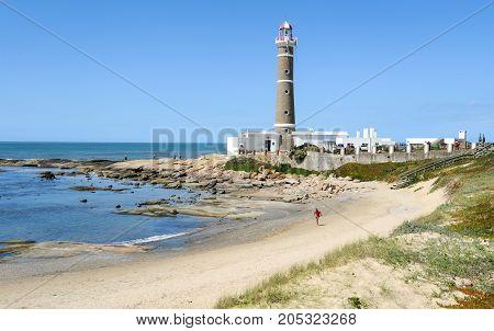 Jose Ignacio, Uruguay - 13 february 2011: The famous lighthouse in Jose Ignacio Uruguay