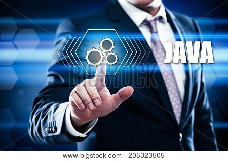 business technology internet concept. java on virtual screen