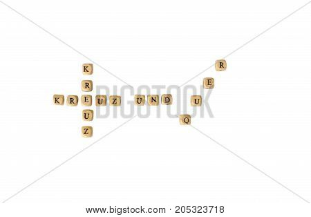 The german words for cross and crosswise, isolated on white