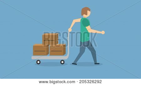 a man moving boxes with his handcart alone