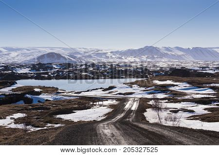 Winter season mountain background Iceland natural landscape background