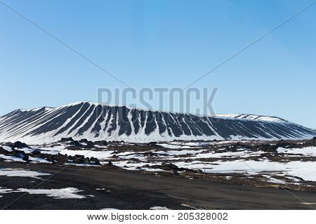 Volcano mountain with clear blue sky background Iceland natural landscape background